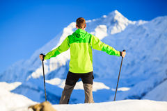 Man hiking in Himalaya Mountains in Nepal Stock Photography