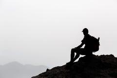 Man hiking inspiration silhouette Royalty Free Stock Image