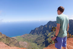 Man hiking at kauai Royalty Free Stock Images