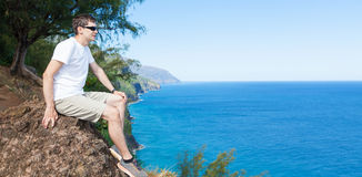 Man hiking at kauai royalty free stock image