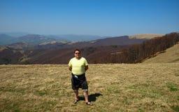 Man hiking in mountain Royalty Free Stock Photos