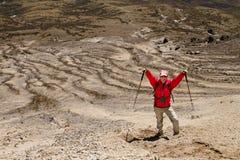 Man hiking in a mountain Stock Photos