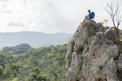 Man hiking on the mountain Royalty Free Stock Photo