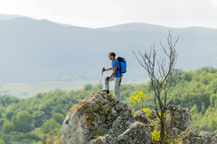 Man hiking on the mountain Stock Photography