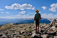Man hiking on Cottonwood Pass in Colorado. stock image