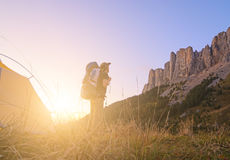 Man hiking Stock Images