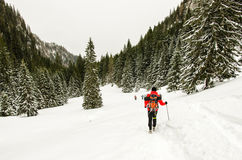 Man hiking. In the mountains, winter season stock image