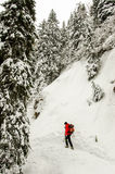 Man hiking. In the mountains, winter season royalty free stock image