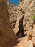 Man hiking in narrow desert canyon Royalty Free Stock Photos