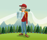 Man hiking nature excursion backpack glasses map landscape background Royalty Free Stock Photos
