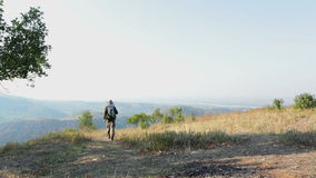 Man hiking outdoors stock footage