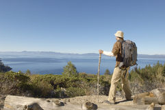 Man With Hiking Pole On Coastal Track Stock Images