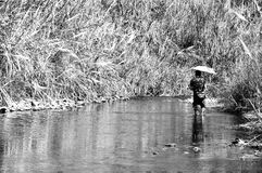 Man hiking in river, Park ranger of Thailand Royalty Free Stock Images