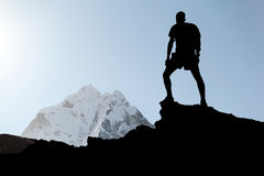 Man hiking silhouette Stock Photo