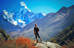 Man hiking on a stone   view in the himalayas Stock Photography