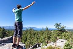 Man hiking at tahoe Stock Photos