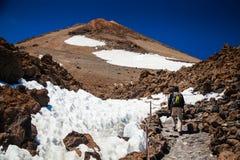 Man hiking on volcano Teide Stock Image