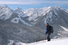 Man hiking in winter Stock Photos