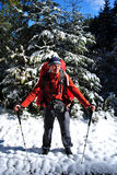 Man hiking in winter Royalty Free Stock Photo