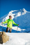Man hiking in winter Himalaya Mountains Stock Photography