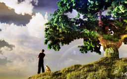 Man On The Hill. Man standing on the hill watching sunset with his dog vector illustration