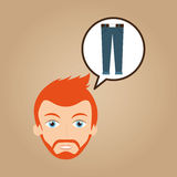 Man hipster bearded blue jeans wearing Stock Photos