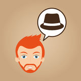 Man hipster bearded wearing hat Stock Image