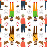Man hipster flat style seamless pattern Royalty Free Stock Photo