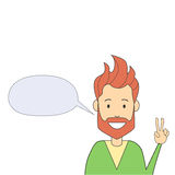 Man Hipster Hand Point Two Finger Up Peace Gesture Isolated Empty Chat Box Stock Image