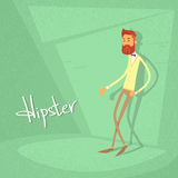 Man Hipster Style Fashion Cartoon Guy Green Retro Stock Photography