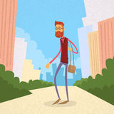 Man Hipster Style Fashion Cartoon Guy Street Stock Photos