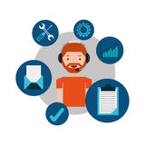 Man hipster support operator assistance. Vector illustration eps 10 Royalty Free Stock Photos