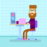 Man Hipster Work Laptop Computer, Sittign Desk Royalty Free Stock Image