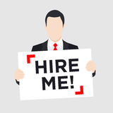 Man with Hire Me Sign Royalty Free Stock Images