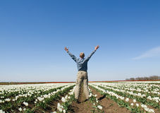 Man with his arms wide open Stock Photography