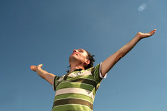 Man with his arms wide open Royalty Free Stock Photos