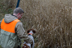 Man and His best friend bird hunting. A hunter bend down affectionately to praise hunting dog for good work on a rainy fall morning Stock Photography