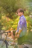 The man with his bicycle royalty free stock photography