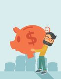 Man with his big piggy bank Stock Photos