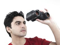 Man with his binoculars Royalty Free Stock Photos