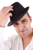 Man with his black hat Royalty Free Stock Photos