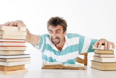 Man with his books. Man love his books very much Stock Photo