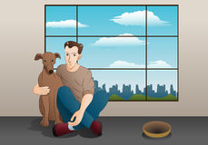 man and his brown puppy Stock Image