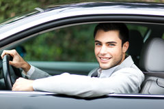 Man in his car Stock Photos