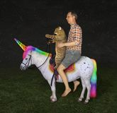 Man and his cat on the unicorn 2 royalty free stock image