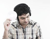 Man and his cd Royalty Free Stock Images
