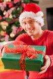 Man and his Christmas gift Stock Photo