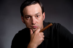 A Man and His Cigar Royalty Free Stock Photo