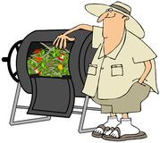 Man with his composter. This illustration depicts a man standing by a compost barrel Stock Photography