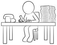 Man at his desk. Vector illustration of a man at work at his desk Stock Illustration